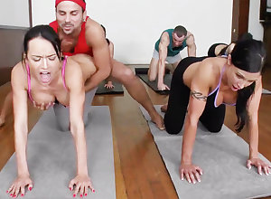 Injurious yoga bombshells acquiring humped round a 4some