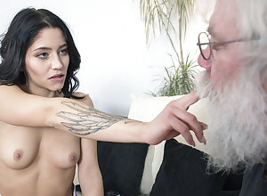 Grandpa sucks young girls bosom explosion sporadically gets a blowjob