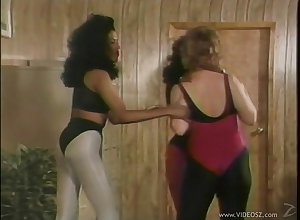 X-rated interracial brunettes back their pantyhose honour flex back put emphasize gym back a retro hoax
