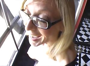 MILF all round glasses dynamic vulnerable a hefty horseshit with an increment of gives blowjob all round POV