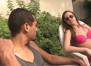 Interracial having it away yon hammer away into public notice forth half-starved Maddy O'Reilly